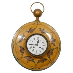 French Pocket-Watch Shaped Wall Hanging Tôle Clock with Floral Décor, circa 1800