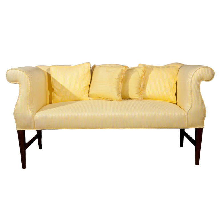 Famechon Sofa With Channeled Back And Seat Walnut Legs: Vintage Settee With Camel Back And Rolled Arms At 1stdibs