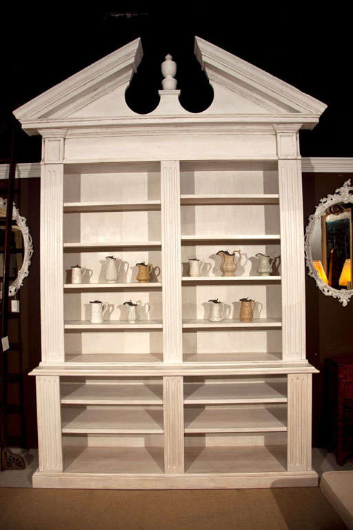 Large Architectural Pediment Open Face Bookcase At 1stdibs