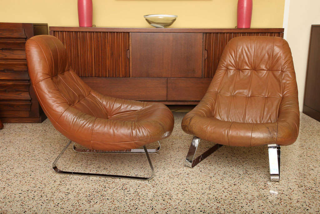 Etonnant Late 20th Century 70u0027s Percival Lafer Brazilian Leather Earth Chairs For  Sale