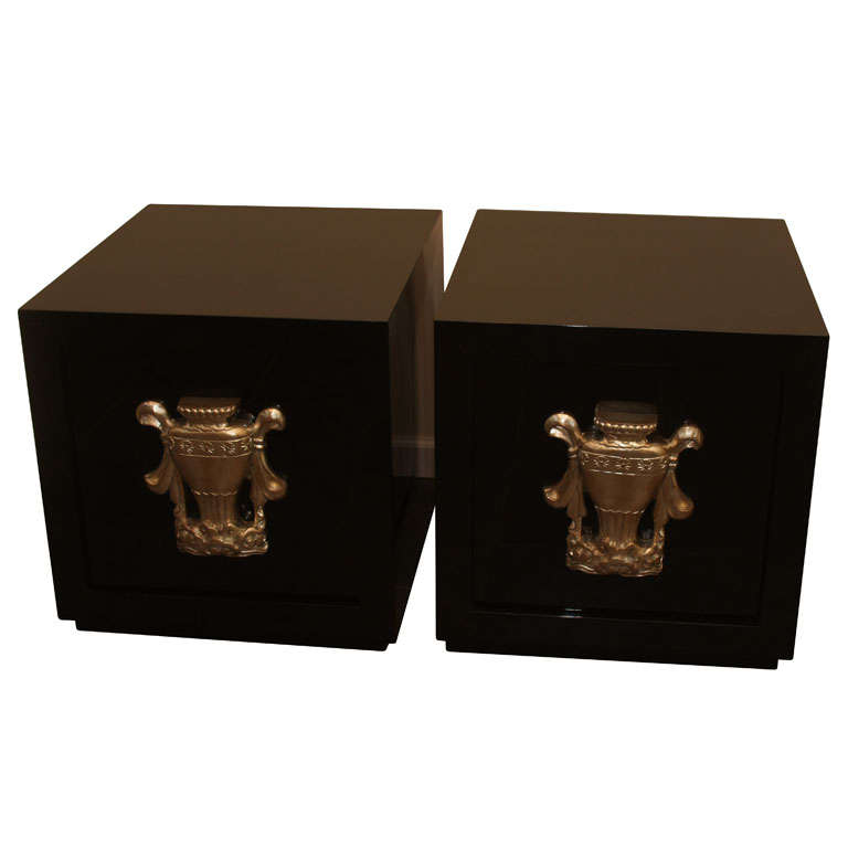Pair of Urn Front Cabinets by James Mont For Sale