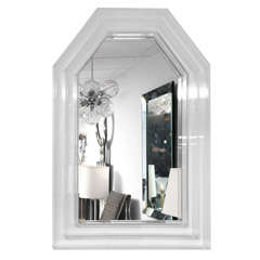 Large Lucite Midcentury Mirror, Detailed Framework