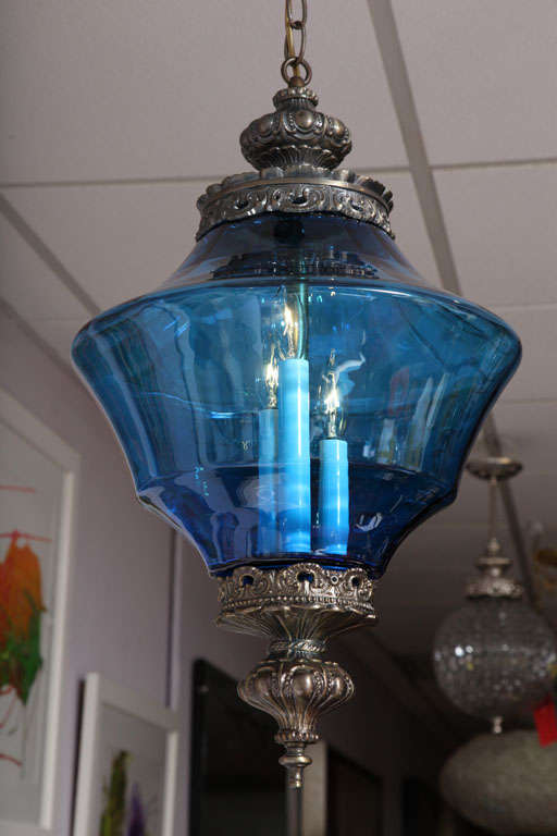 Blue chandelier pendant in Azul blue, France, delicate metalwork. Like the ocean in Nice.