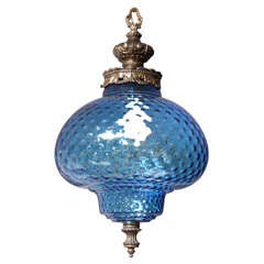 Large  Very Blue  Glass Chandelier