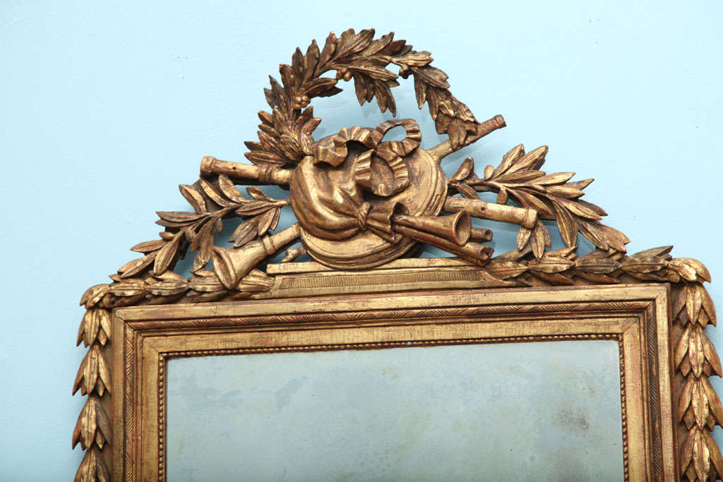 French Louis XVI Carved and Gilded Mirror For Sale