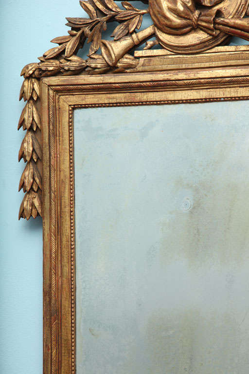 18th Century and Earlier Louis XVI Carved and Gilded Mirror For Sale
