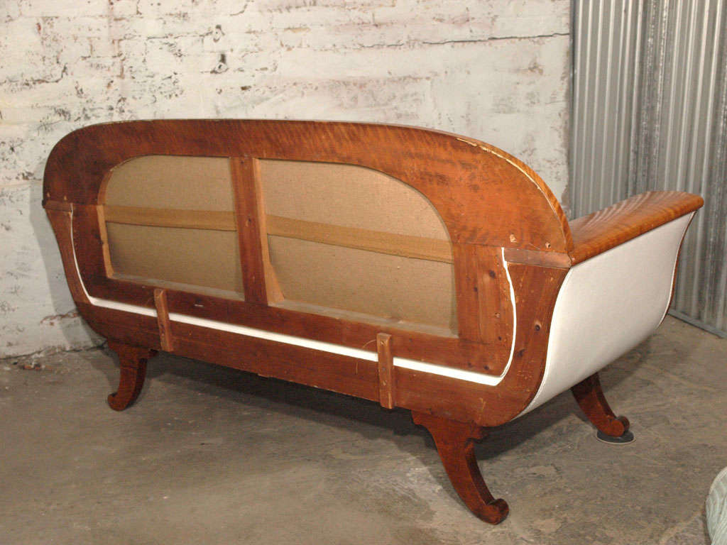 19th Century Biedermeier Sofa with Burled Walnut and White Belgian Linen 9