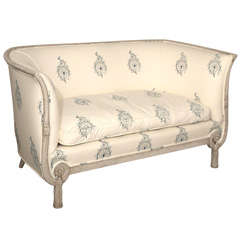 Rare 19th c. French Empire Style Settee in French-Indie Fabric