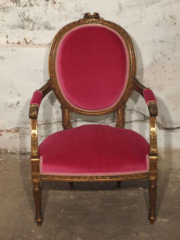 Decadent Louis XVI Giltwood Armchair in Fuschia Velvet 3