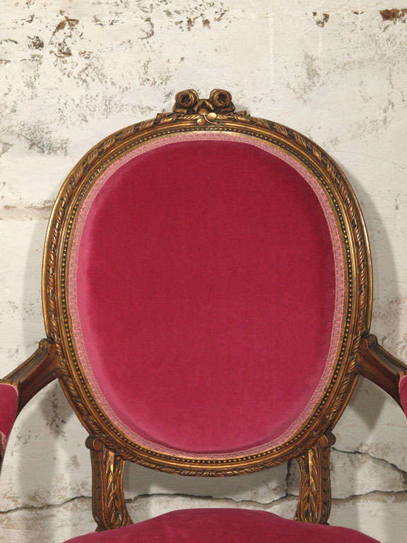 Decadent Louis XVI Giltwood Armchair in Fuschia Velvet 4