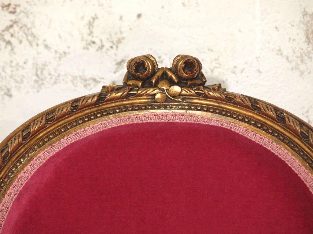 Decadent Louis XVI Giltwood Armchair in Fuschia Velvet 5