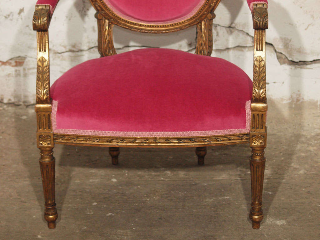 Decadent Louis XVI Giltwood Armchair in Fuschia Velvet 6