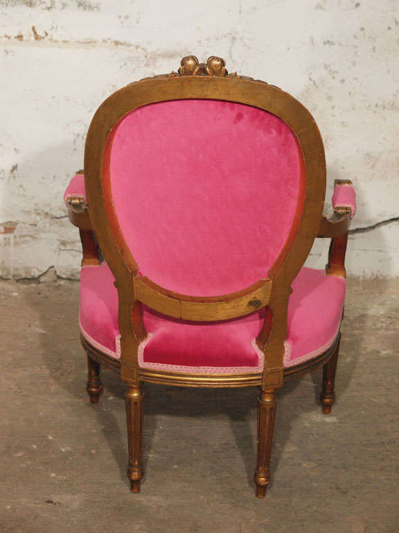 Decadent Louis XVI Giltwood Armchair in Fuschia Velvet 9