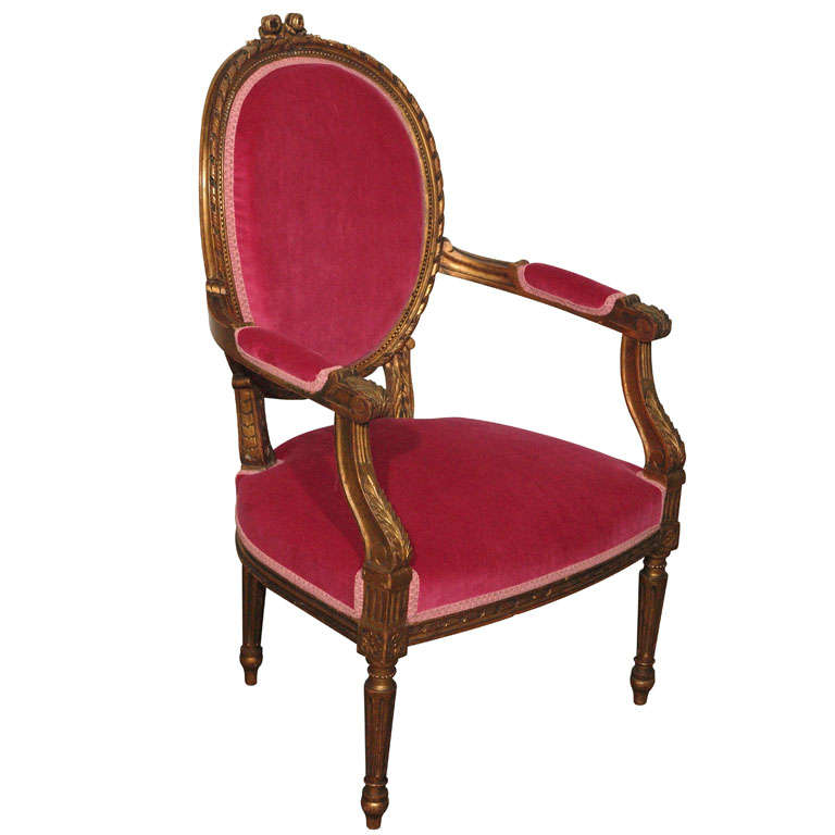 Decadent Louis XVI Giltwood Armchair in Fuschia Velvet 2