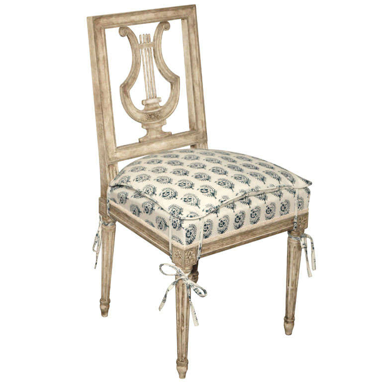 Etonnant Breathtaking Louis XVI Painted Lyre Back Chair For Sale