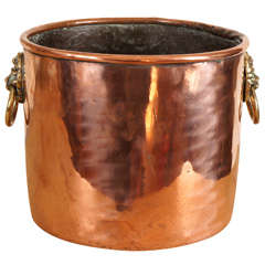English Copper pitcher with lion's head handles
