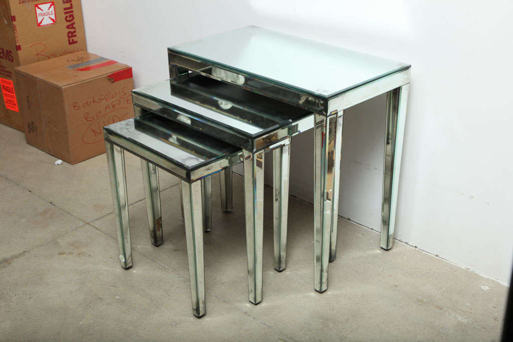 Set Of 3 Glass Tables: Set Of Three Bevelled Glass Nesting Tables At 1stdibs