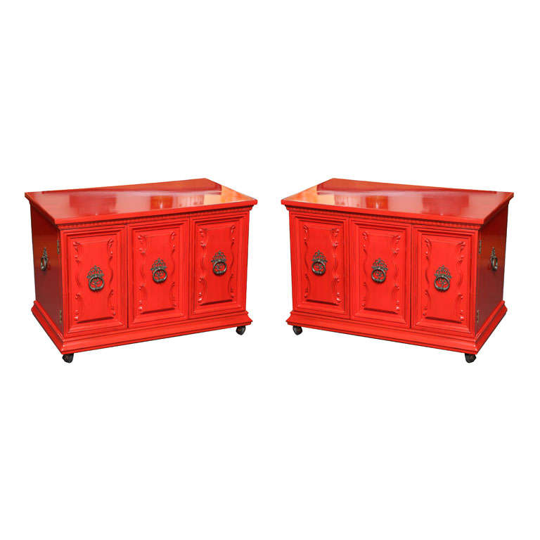 Delightful Regency Red Lacquer Bedside Tables At 1stdibs