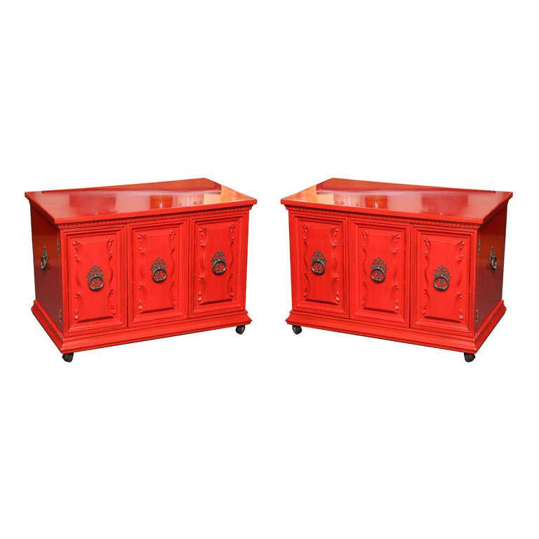 Delightful Regency Red Lacquer Bedside Tables At 1stdibs