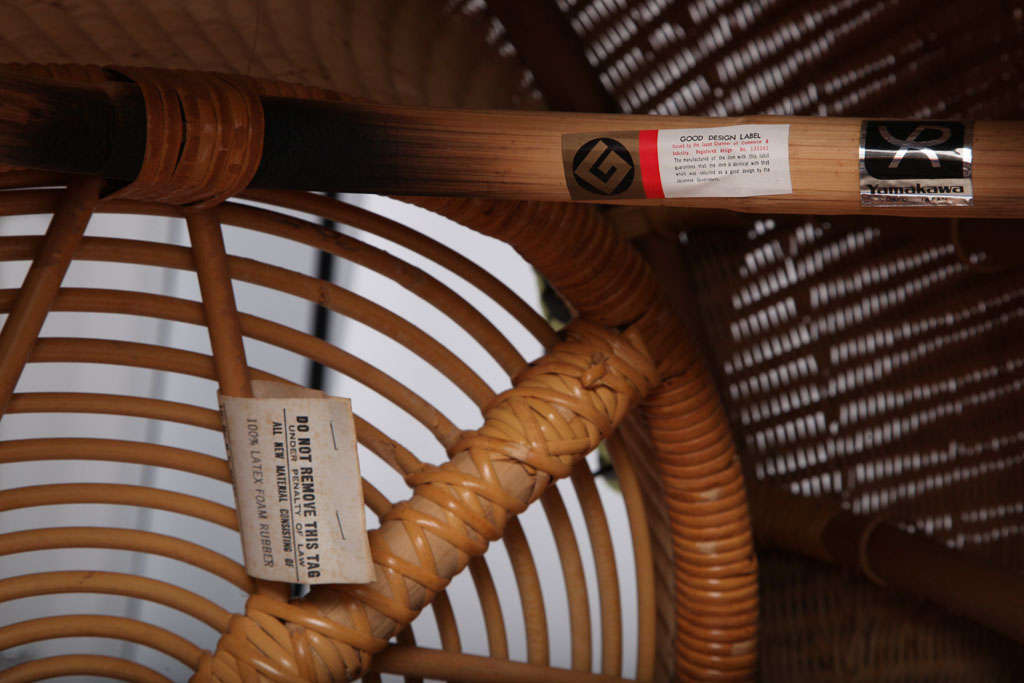 Rare Isamu Kenmochi round Chair and Table/Ottoman 5