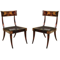 Pair of Faux Bronze Metal Hand-Painted Klismos Italian Chairs