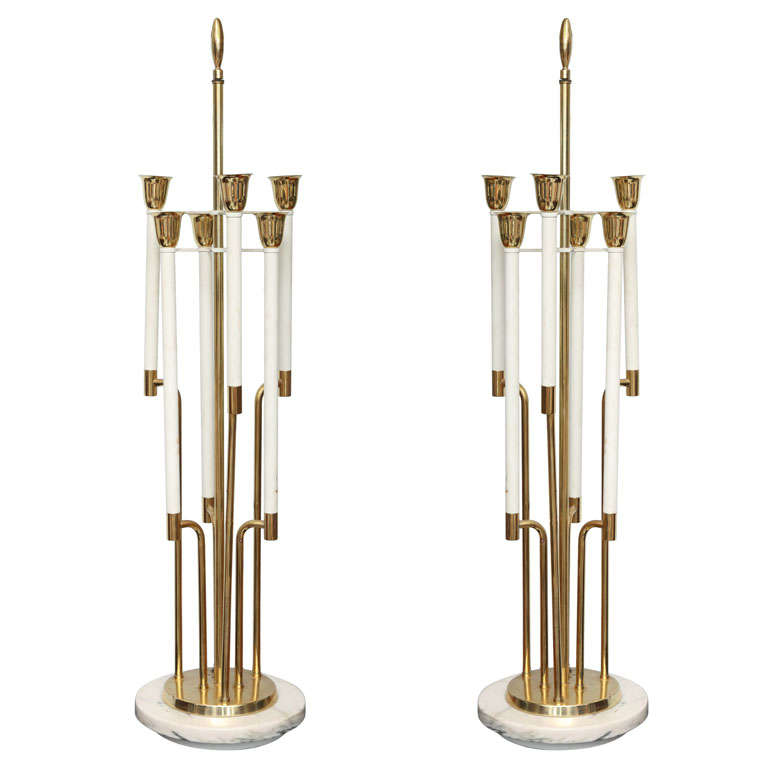 Large Pair of Brass and Marble Table Lamps