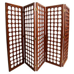 A Rare Italian Modern Mahogany 5 Panel Screen