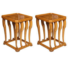 Pair of French Burled Walnut and Fruitwood Tables