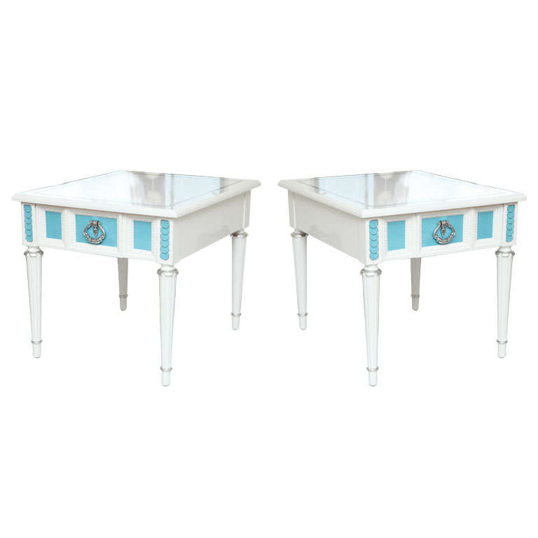 50's Pair of  lacquered Nightstands Bedside Table