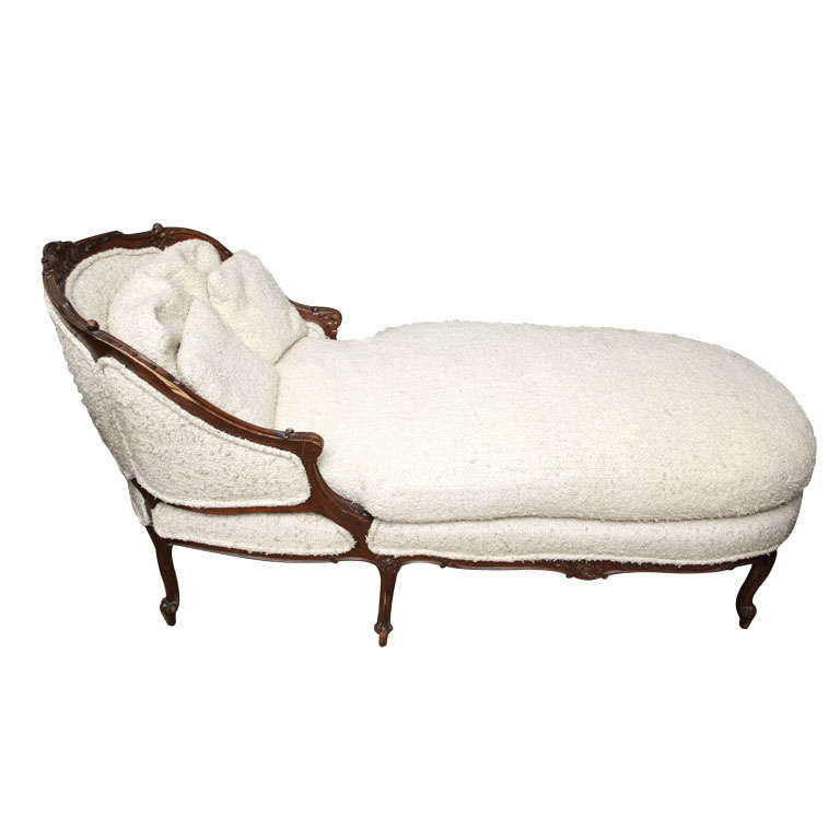a louis xv style carved walnut chaise lounge at 1stdibs. Black Bedroom Furniture Sets. Home Design Ideas