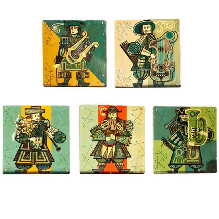 Set of Five French Musicians Panels For Sale