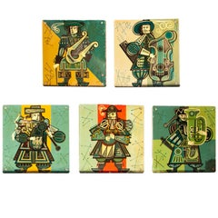 Set of Five French Musicians Panels