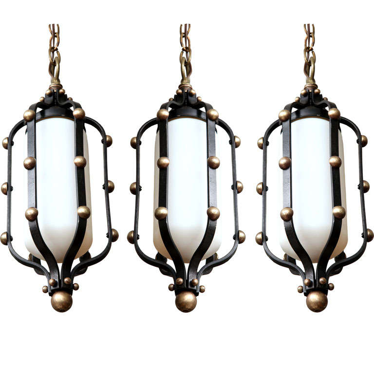 italian brass and wrought iron pendant lights at 1stdibs. Black Bedroom Furniture Sets. Home Design Ideas