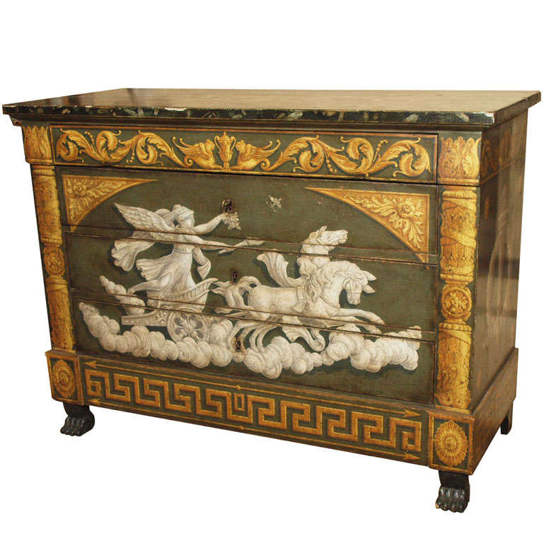 Italian painted empire commode at 1stdibs for Italian painted furniture