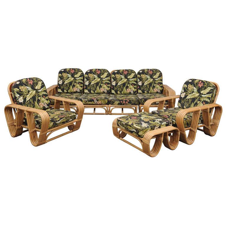 Vintage Rattan 4 Pc Sofa 2 Chairs And Ottoman At 1stdibs