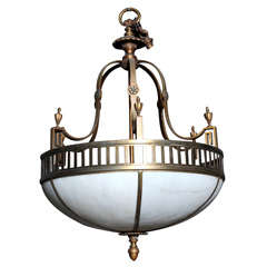 Rare French Art Deco Hanging Light Fixture