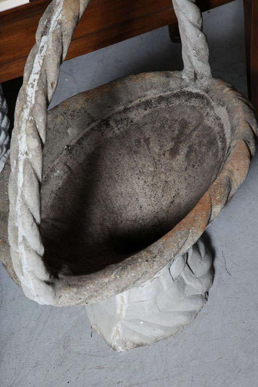 Large Cast Stone Basket Planter For Sale 1
