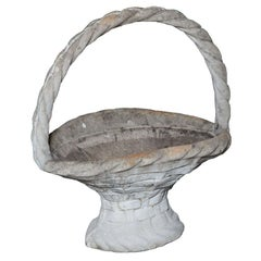 Large Cast Stone Basket Planter