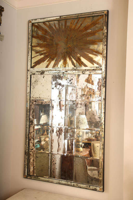 Contemporary Large Panelled Wall Mirror with Églomisé Sunburst Pediment For Sale