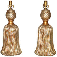 Pair of Silver & Gold Gilt Cast Metal Tassel Lamps by Palladio