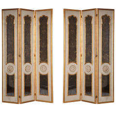 Pair of Three Panel Mirrored Screens
