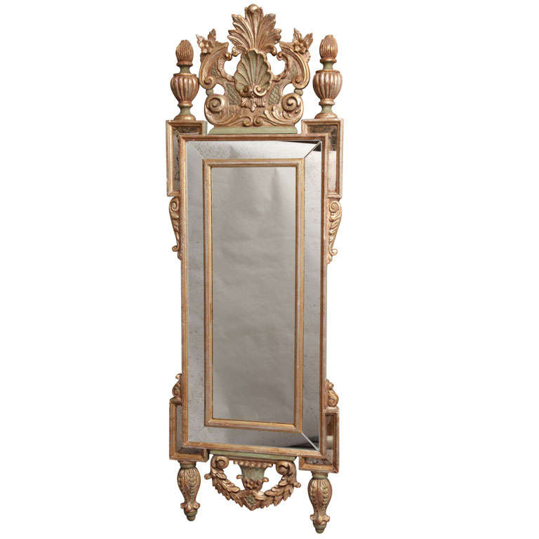 Very tall and narrow form italian wall mirror at 1stdibs for Tall slim mirror