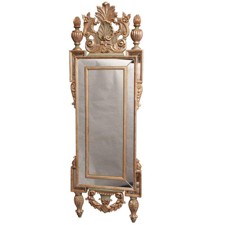 Very tall and narrow form italian wall mirror at 1stdibs for Tall skinny mirror