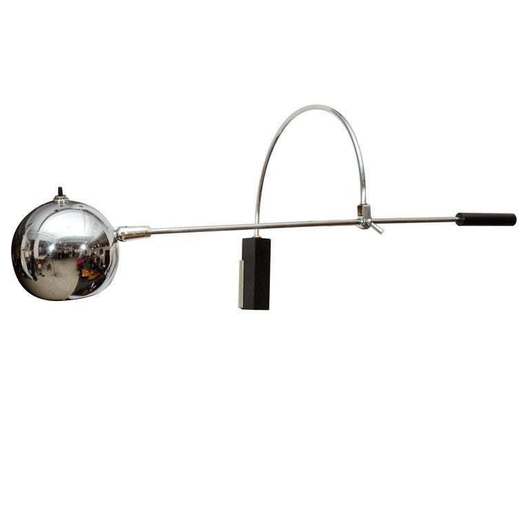 Oribiter Chrome Wall Lamp by Robert Sonneman For Sale