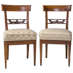 Pair of Egyptian Revival chairs with Dog back Splats