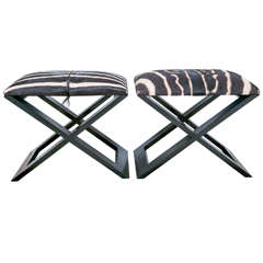 Pair of Zebra hide X benches
