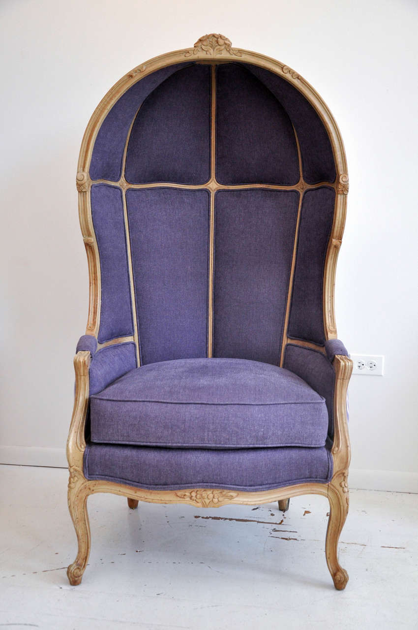 Gentil A True Statement Chair. Antique Hooded Porteru0027s Chair Reupholstered In An  Amethyst Ikat Print And