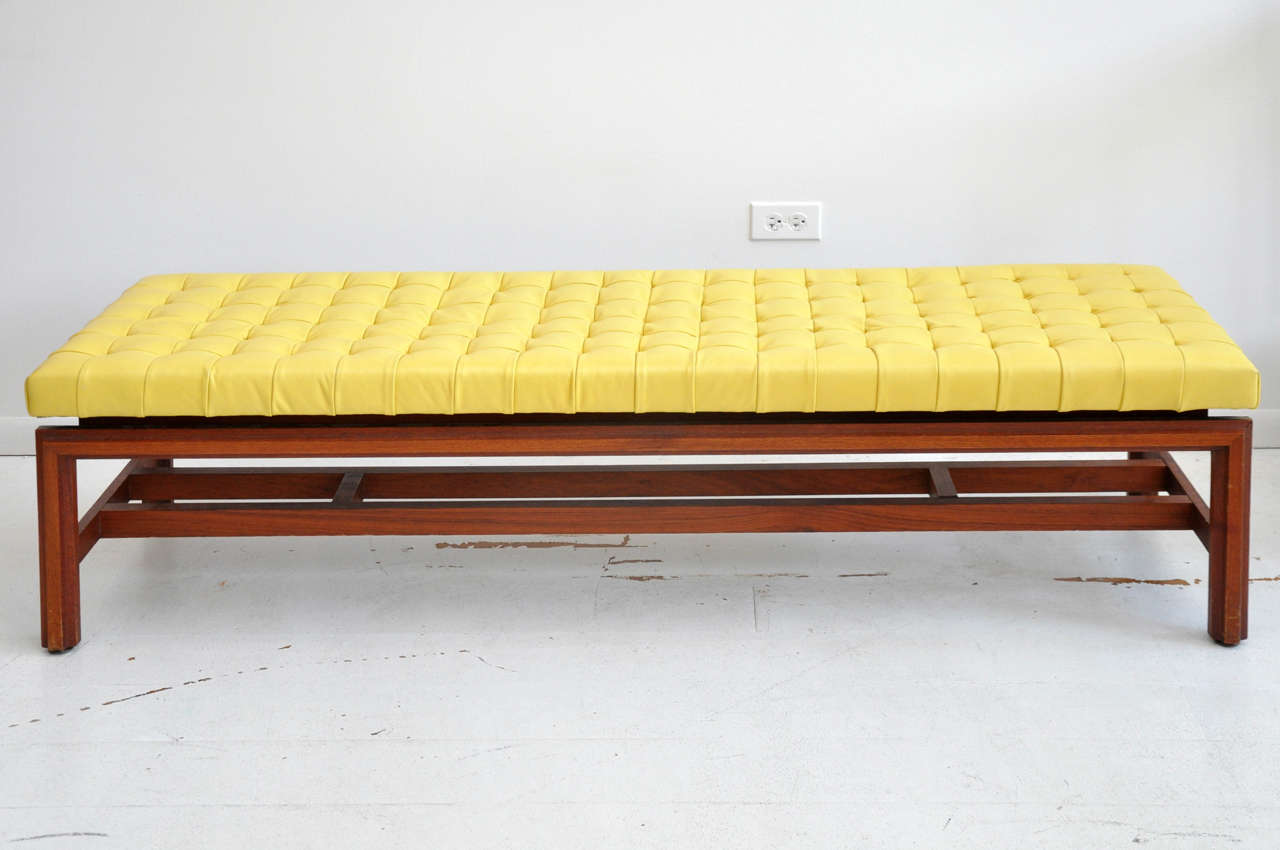 vintage tufted yellow leather bench at stdibs - vintage tufted yellow leather bench