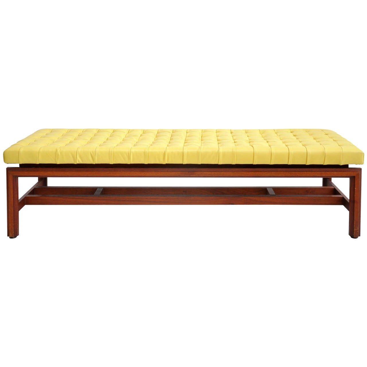 Vintage Tufted Yellow Leather Bench