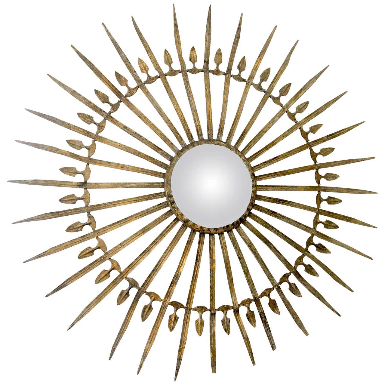 Metal Starburst Mirror with Detailed Arms